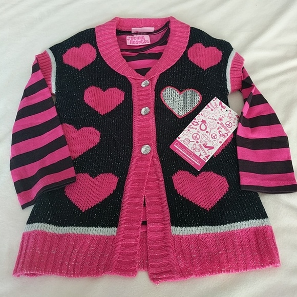 7312d8064db4 NWT Young Hearts Girls 3T Sweater and Shirt Set